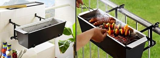 balkon ideen zum grillen mit geländer grill