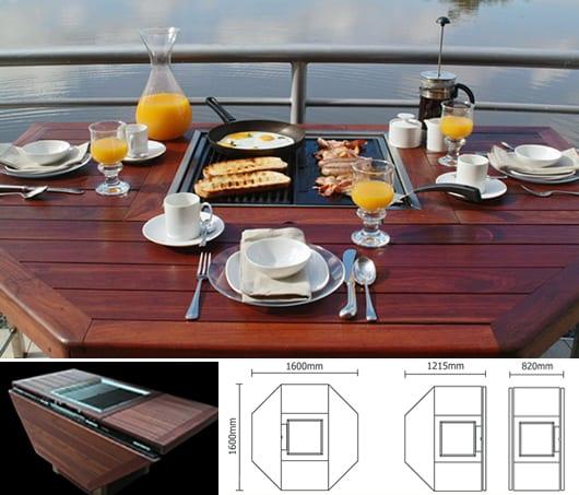klappbarer balkontisch holz mit integriertem BBQ in der mitte