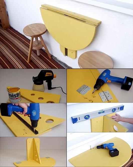 balkon gestalten mit DIY Klapptisch an der Wand in gelb