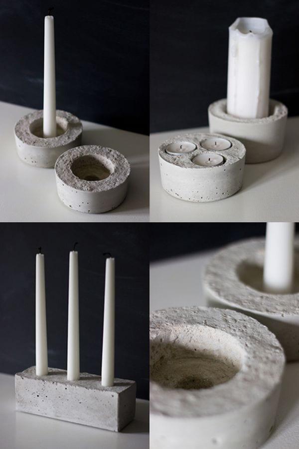 kerzenhalter bastelnideen aus beton