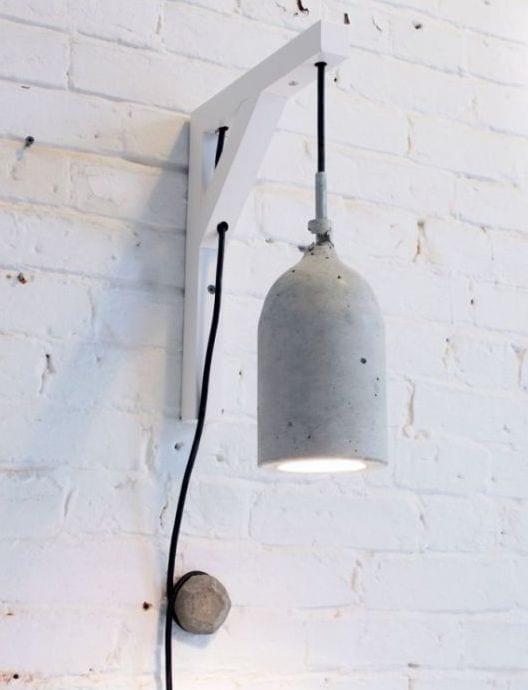 ideen für coole wandgestaltung mit DIY Pendelleuchte aus beton-weiße wand aus ziegeln