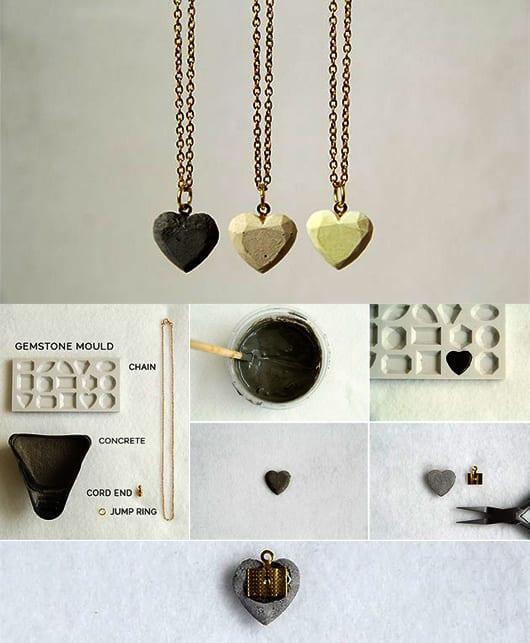 valentinstag geschenk idee mit DIY halskette aus beton