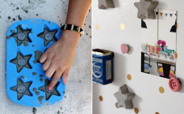 coole basteöideen für DIY Magneten aus beton