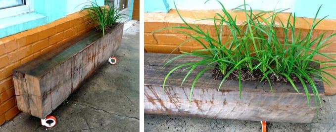 coole bastelideen für diy bank mit bepflanzung aus holzbalken