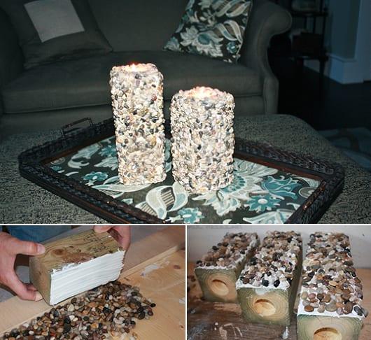 kreative bastelideen für teelichthalter aus holzklotz mit kies