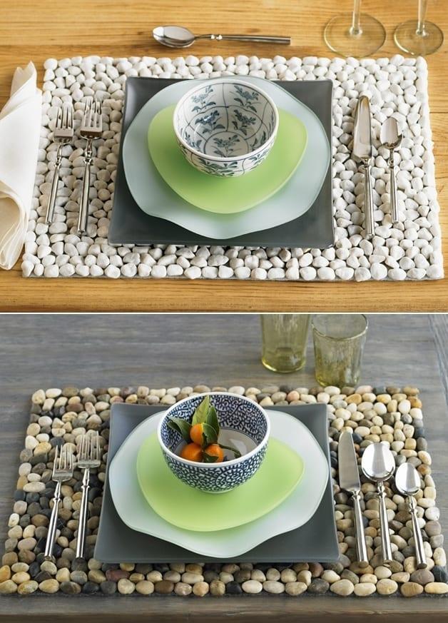 kreative ideen für tisch sets aus kies zum selber machen