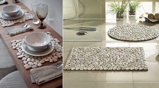 coole bastelideen mit natursteinen-diy fußmatte und tischset