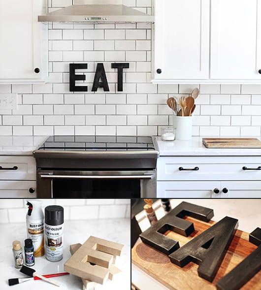 moderne küche weiß mit weißen fliesen und schränken-wandgestaltung küche mit DIY Buchstaben