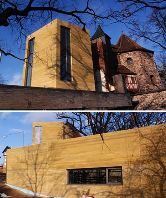 außenwandgestaltung mit beton hellbraun