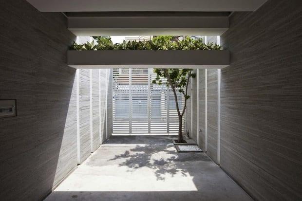 eingangsituation mit Wände aus pigmentiertem Beton und dachgartenidee