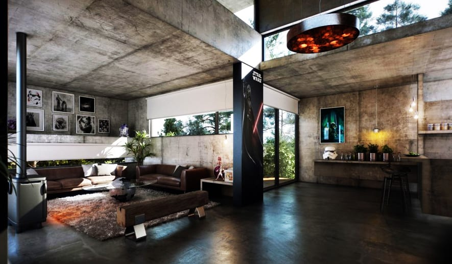 luxus wohnzimmer interior mit sichtbeton und runden metallstützen schwarz-eingan dekorieren-minimalistische fensterbad mit schwarzen rahmen-ecksofa braun-wandgestaltung min bildern
