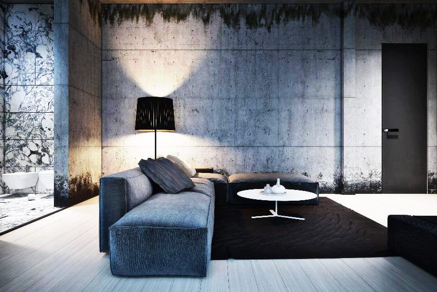 luxus wohnzimmer inspirationen mit wänden aus beton und holzlaminatboden-moderne seats and sofas grau mit traumteppich schwarz-innentür schwarz-luxus badezimmer interior in schwarz weiß