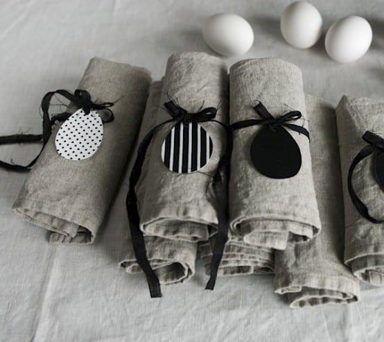 ostern 2015 deko mit servietten grau