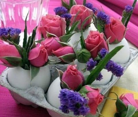 bastelideen ostern mit rosen und eiern
