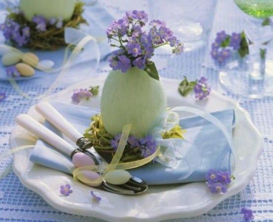 bilder ostern 2015 füt tisch eindecken in blau und lila