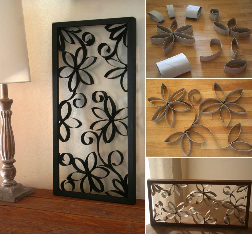 ideen fr wandgestaltung mit diy bild aus papprole basteln mit papier - Deko Aus Naturmaterialien
