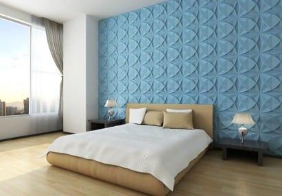 modernes schlafzimmer mit wandfarbe lau und wandgestaltung von umweltfreundlichen wandpaneelen