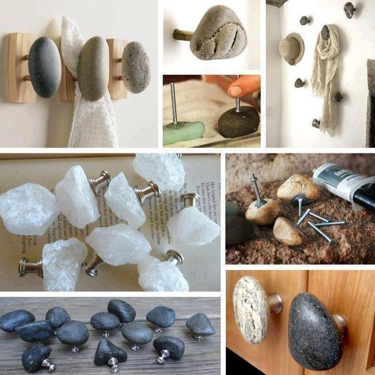 diy griffe und kleiderhacken aus steinen