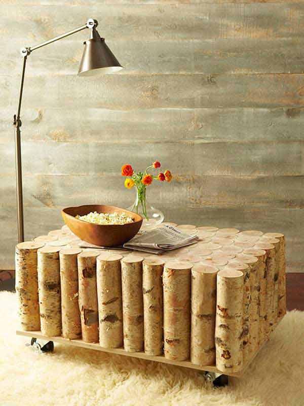 rundholz aus birke für moderne diy rollencouchtisch