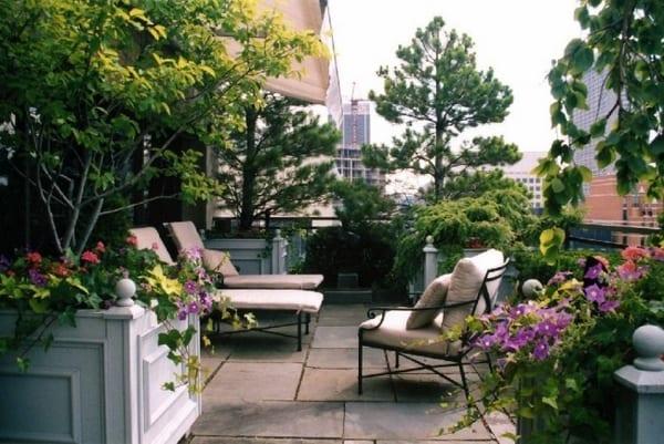 terrasse gestalten mit pflanzen