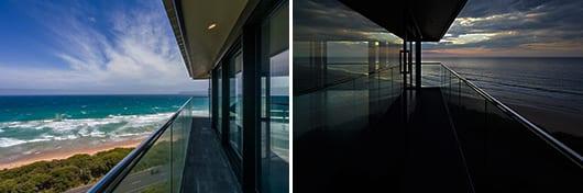 das haus am meer mit glasfassade und überdachtem terrassengang