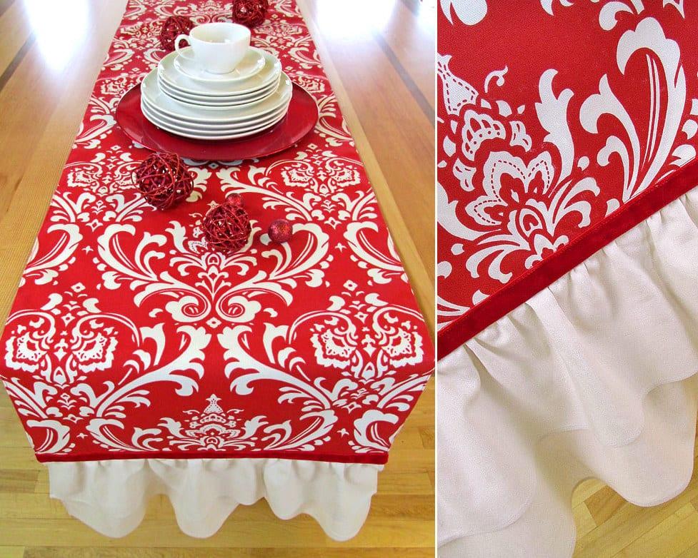 tisch eindecken mit DIY Tischdecke in rot und weiß