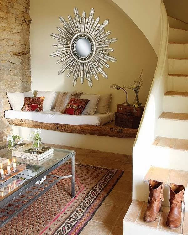 hazienda wohnzimmer einrichtung mit kleinem sitzecke wohnzimmer und steinwand