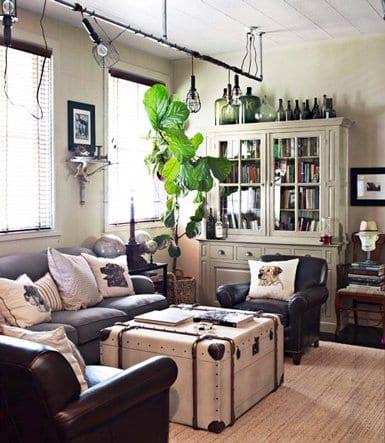 kleines wohnzimmer mit altem koffer rustikal in weiß für couchtisch_dekenlecuhte wohnzimmer
