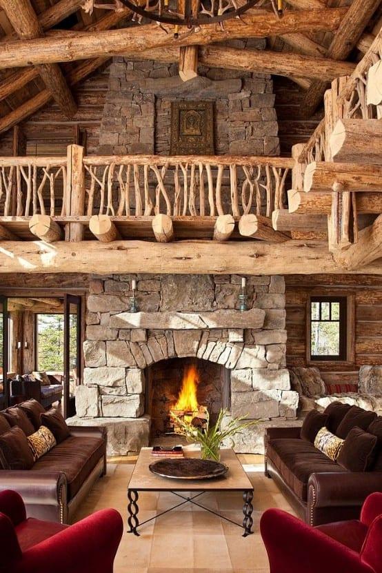 traumferienhaus mit wohnzimmer rustikal und rustikale kaminöfen aus stein