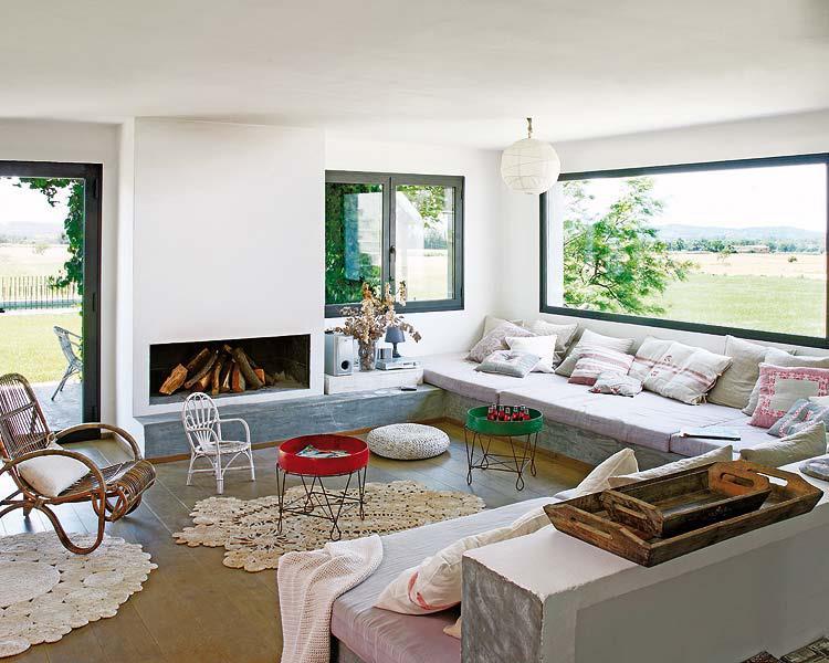 wohnzimmer inspiration mit beton und kamin