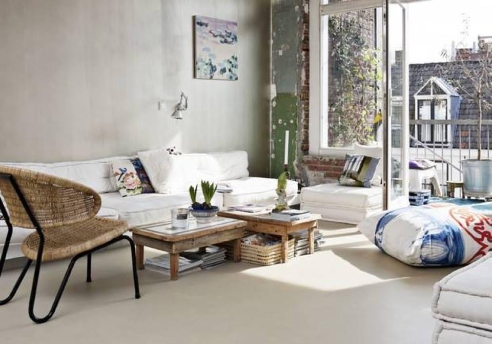 mein wohnzimmer inspirationen mit roh ziegelwand und sitzecke wohnzimmer aus weißen Sitzkissen