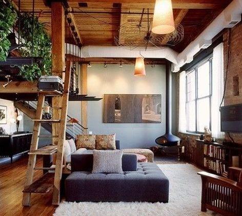 wohnzimmer inspirationen mit holzdecke und bett über dem wohnzimmer_wohnzimmer beispiele mit kamin und polstermöbeln