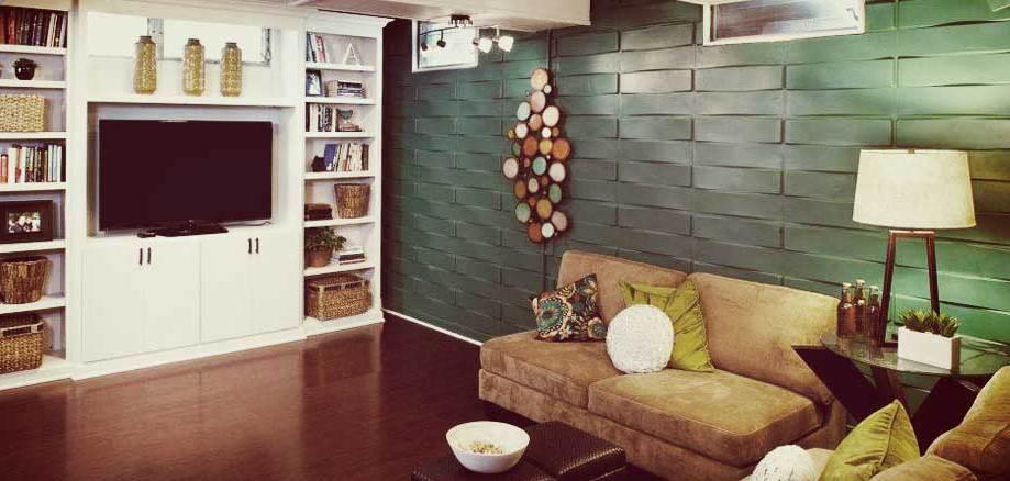 wohnzimmer inspirationen mit 3d Wandpaneelen grün