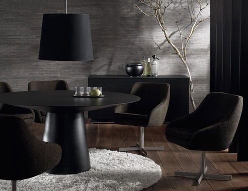 wohnzimmer indpirationen mit schwarzem Esstisch rund und pendelleuchte schwarz