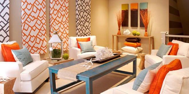 fantastische zimmergestaltung mit akzent in orange und blau ...