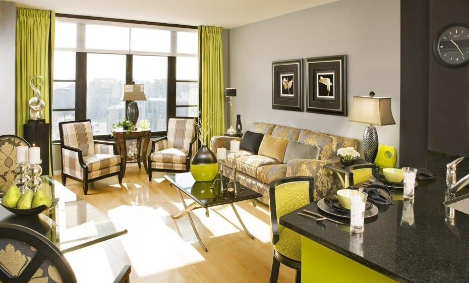 wohnzimmer schwarz und grün-gardinen dekorationsvorschläge