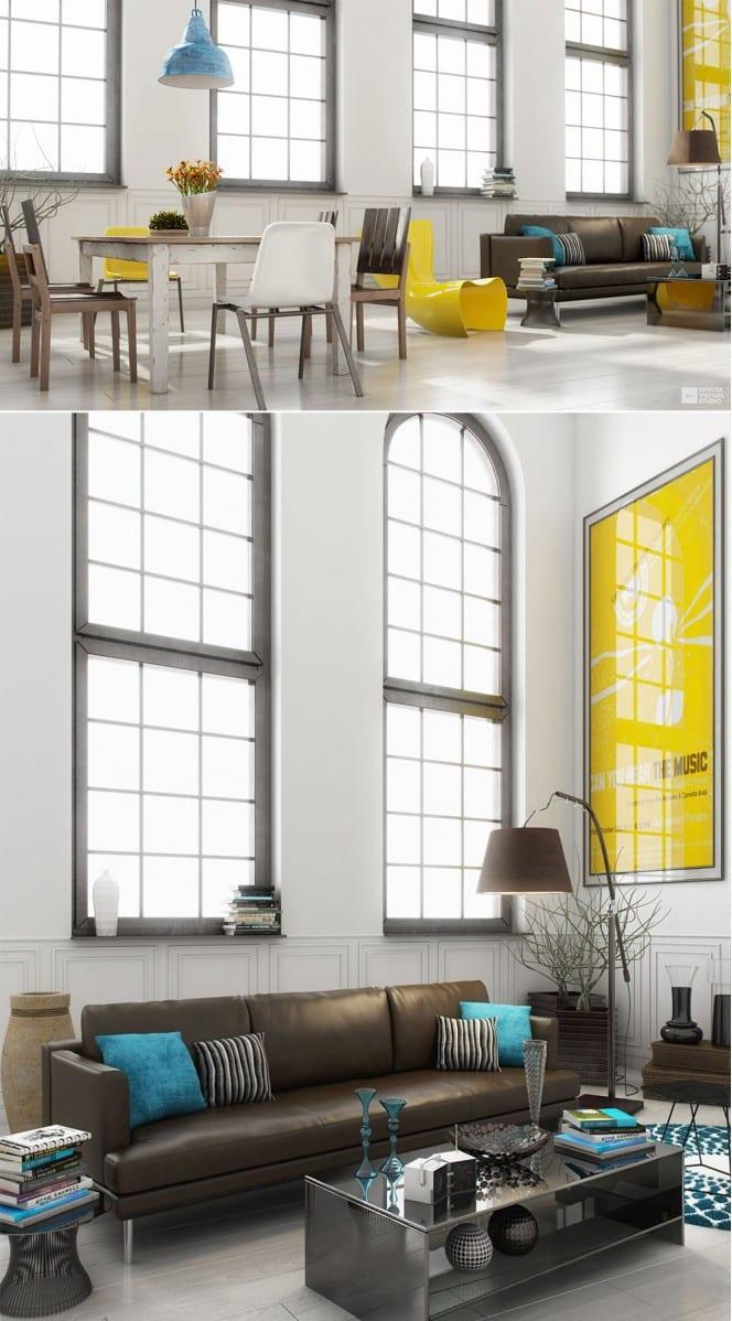 wohnzimmer blau gelb:loft wohnung ideen mit bogenfenster aus metall- gelber stuhl und