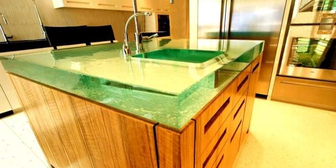 glass oberfl che f r k chenarbeitsplatte freshouse. Black Bedroom Furniture Sets. Home Design Ideas