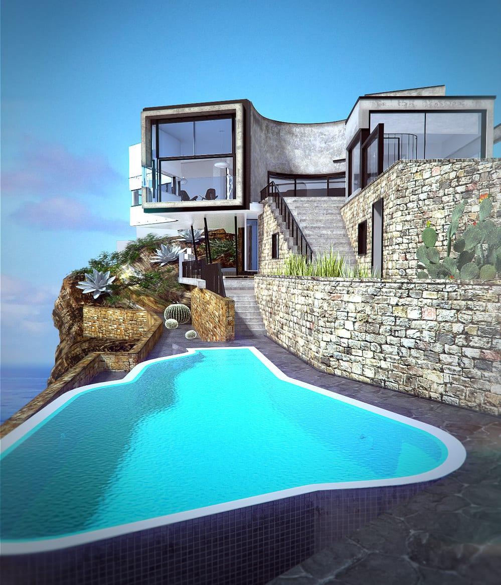 luxus haus aus beton am Hang mit terrassierter garten und steingartenmauern