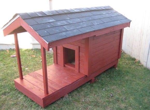diy hundehütte mit satelldach und überdachter terrasse