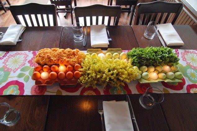 tisch mit ostereiern eindecken