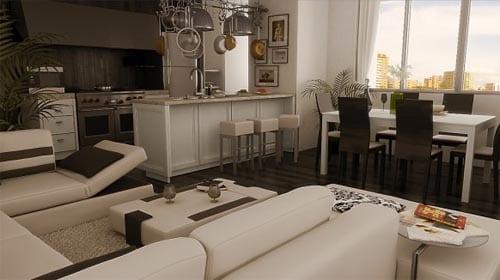 zweiraumwohnung- wohnzimmer farbgestaltung in weiß und braun- moderne küche weiß mit kochinsel und Bar
