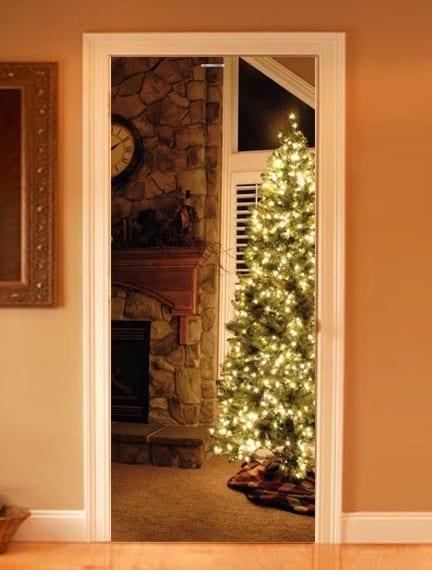 innentür gestaltung mit fototapet von weihnachten