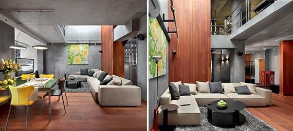 modernes wohnzimmer interior mit sichtbeton und holz