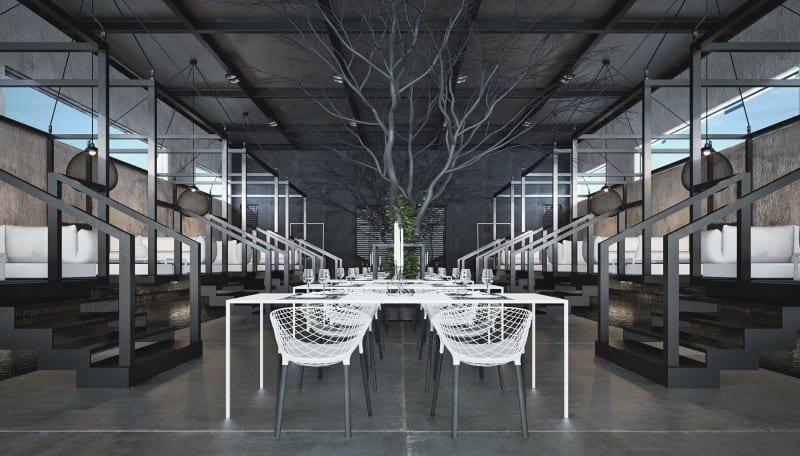 schwarze deckengestaltung mit sichtbarer metallkonstruktion- modernes interior mit weißer möblierung