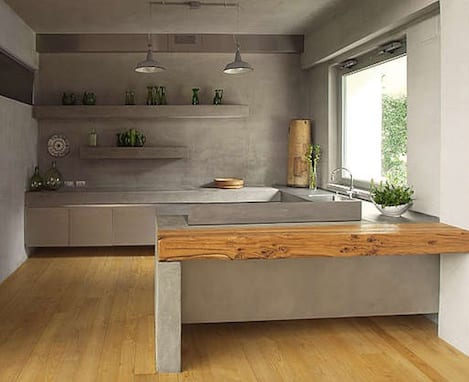 kleine küche ideen mit sichtbeton und wandregalen aus beton