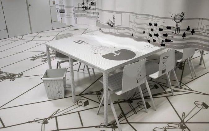 kreative raumgestaltung in weiß mit modernem elastischem bodenbelag in dreidimensinaler optik