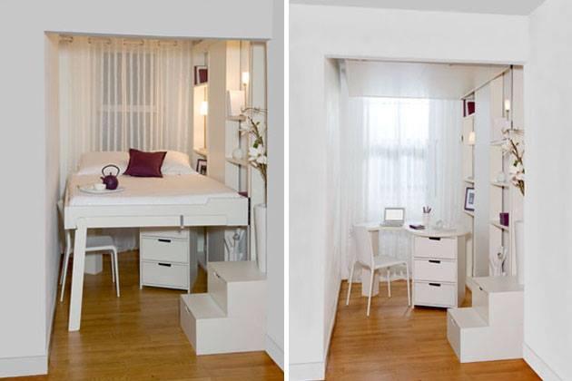 kleines appartement mit wohn schlafzimmer und weiße wandregalsystem