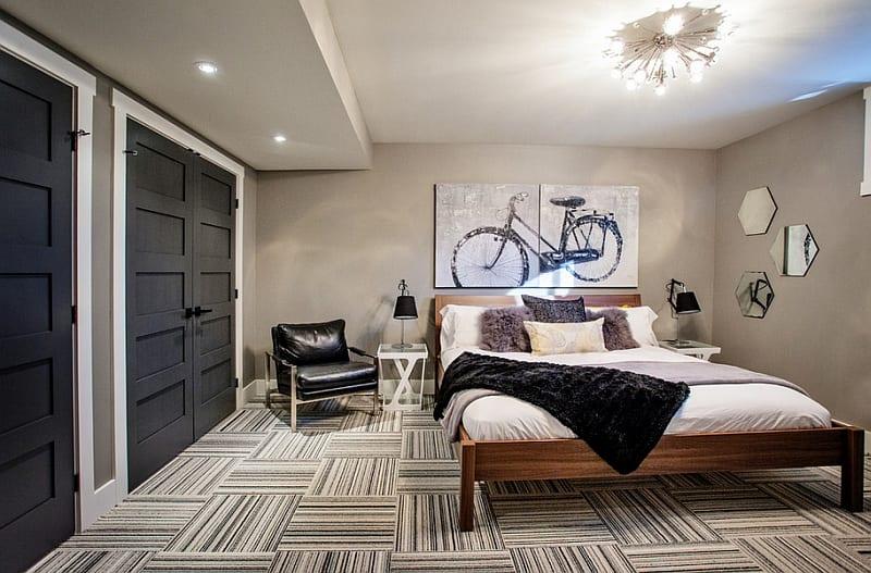 wohnideen schlafzimmer mit parkett und wandgestaltung mit spiegeln und bild