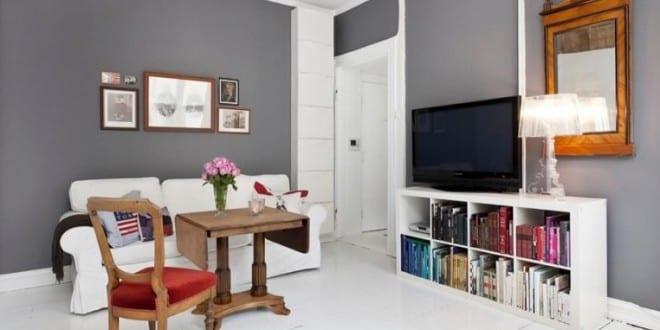 kleines wohnzimmer inspiratione mit wandfarbe grau und holzboden wei - Wandfarbe Kleines Wohnzimmer